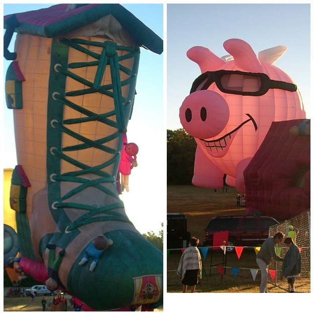 Old woman in a shoe and pig hot air balloons