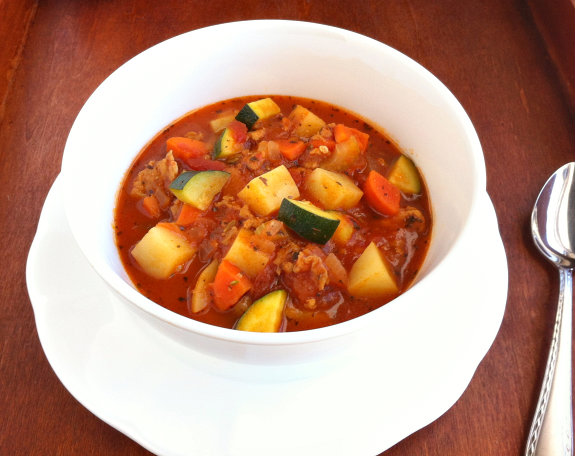 Italian Sausage Potato and Zucchini Soup