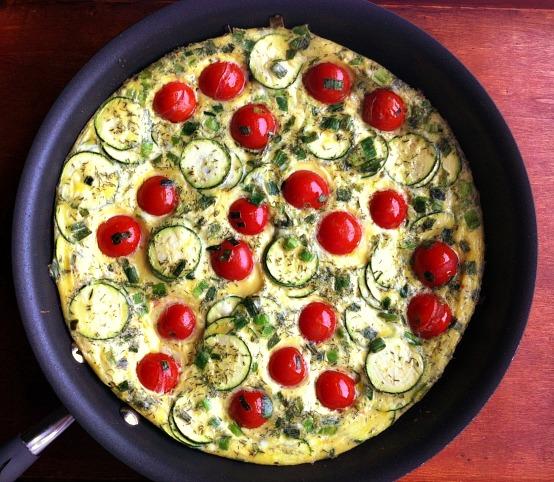 Zucchini, Tomato and Scallion Baked Frittata