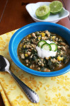 Mexican Chicken White Bean Soup with Lime Sour Cream