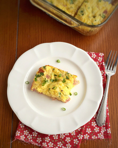 Ham and Mozzarella Egg Bake