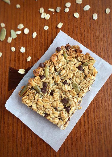 Oatmeal Pumpkin Seed Chocolate Energy Bars