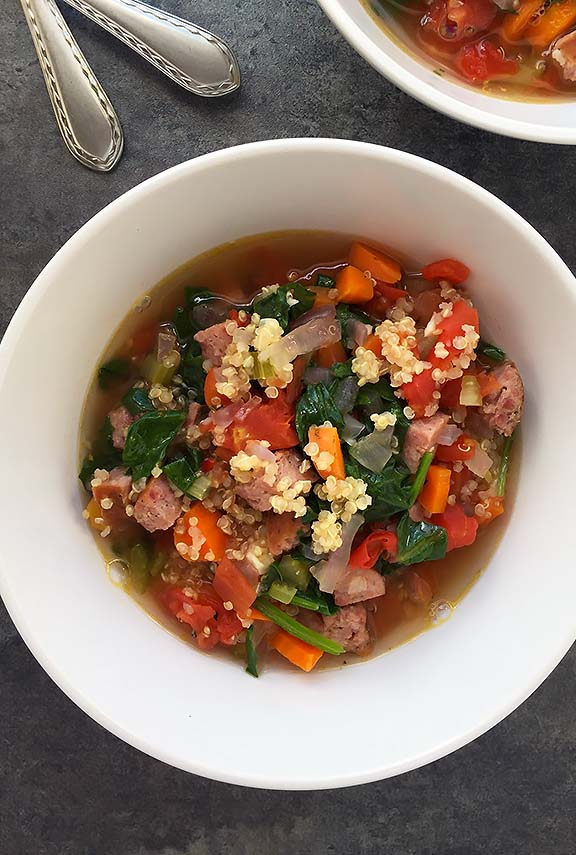 Italian Sausage Quinoa and Spinach Soup