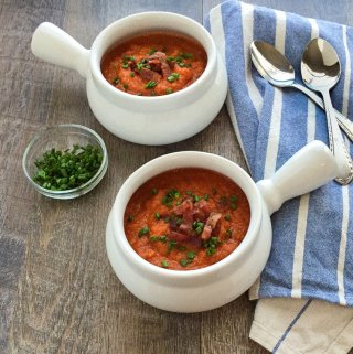 Pumpkin Tomato Soup with Bacon