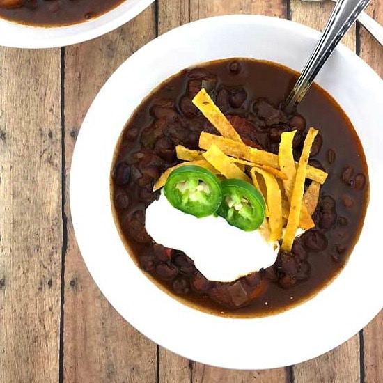 Vegetarian Black Bean Chili - Healthier Dishes