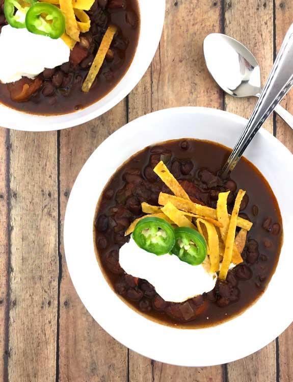 Vegetarian Black Bean Chili - The Texas PeachThe Texas Peach