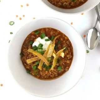 This Chicken and Red Lentil Chili is a tasty and healthy meal for dinner that will fill you right up!