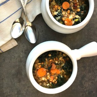 Sprouted Lentil Soup with Pancetta and Kale
