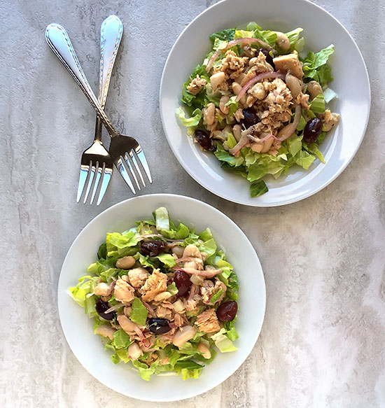 Tuna Cannellini Bean Salad with Parmesan Garlic Dressing