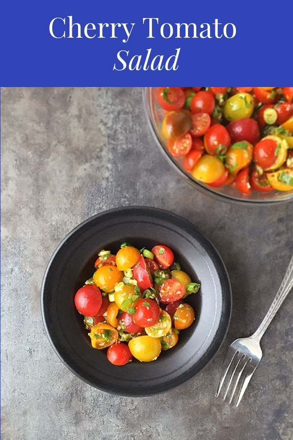 This Cherry Tomato Salad is super easy to make, and the balsamic vinaigrette marinade results in a delicious and flavorful salad that you and your family will love! #cherrytomatorecipes #cherrytomatoes #cherrytomatosalad