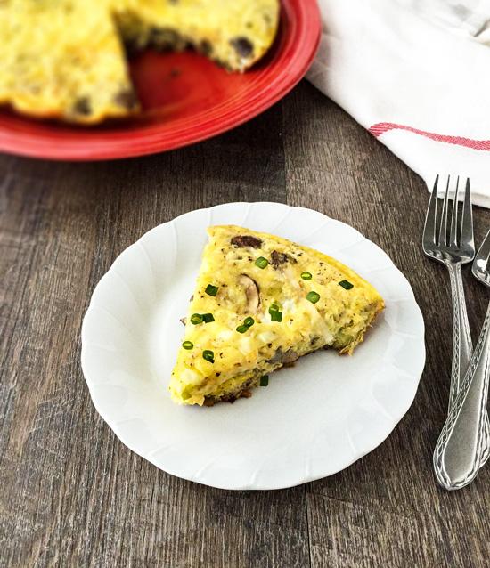Leek Mushroom and Cheddar Frittata - Healthier Dishes