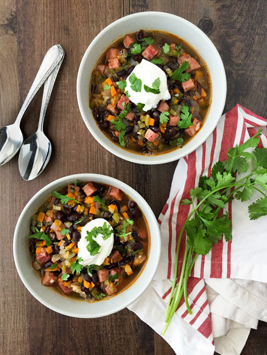 Black Bean Soup with Ham - Healthier Dishes