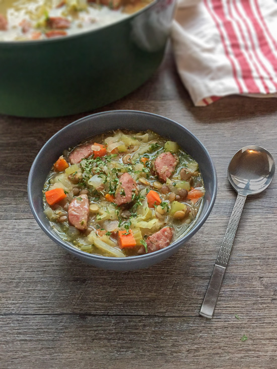 This Smoked Sausage Cabbage and Sprouted Lentil Soup recipe is an easy soup to make and great for chilly Winter days!
