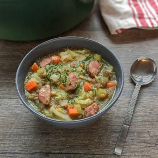 Smoked Sausage Cabbage and Sprouted Lentil Soup