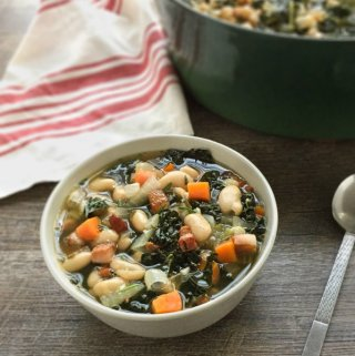 White Bean Soup with Kale - a easy soup recipe featuring canned beans to help get dinner on the table quicker!
