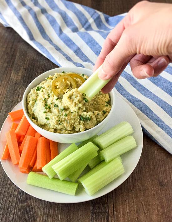 Zesty Jalapeno Yogurt Hummus - Easy to make and a good healthy snack!