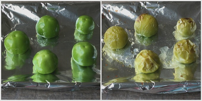 Tomatillos Before and After Roasting