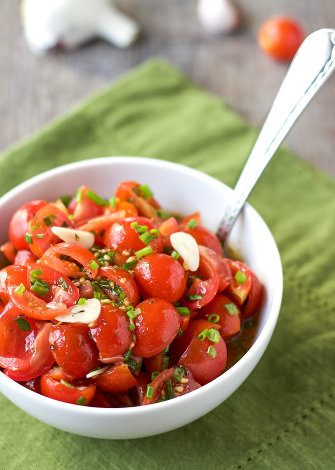 This chunky-style Tomato Vinaigrette dressing is easy to prepare and makes a great topping for fish or chicken!
