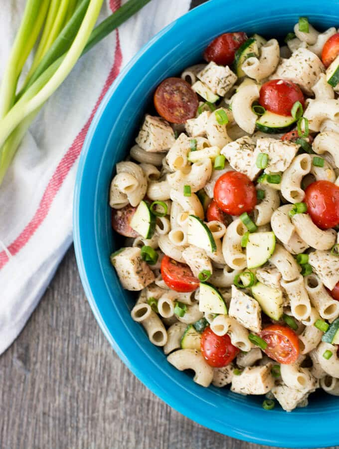 Chicken Macaroni Salad inside a large blue bowl.