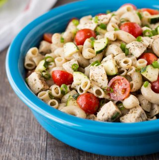 Featuring a light creamy dressing this Chicken Macaroni Salad is not only delicious but healthy and easy to make!