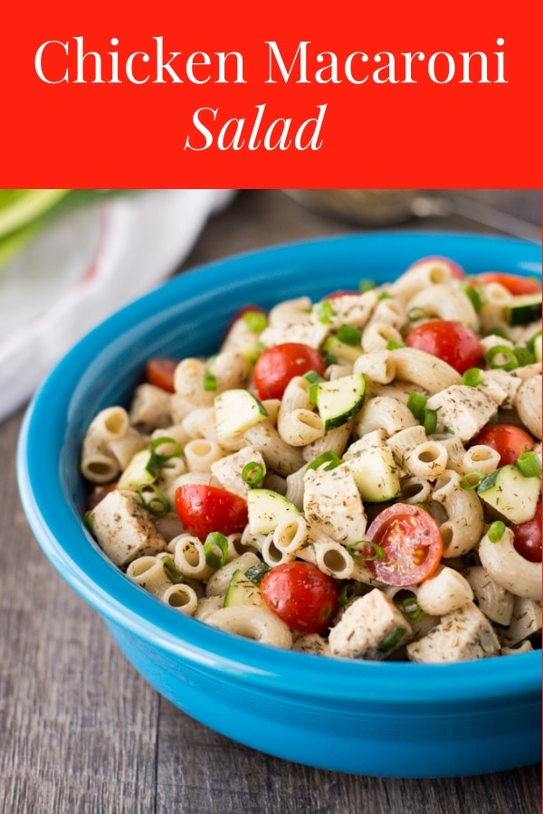 This Chicken Macaroni Salad is a delicious and healthy lunch recipe idea. It has a light creamy dressing that's full of flavor! #healthylunchrecipe #macaronisalad #healthierdishes #worklunchideas #portablemeals