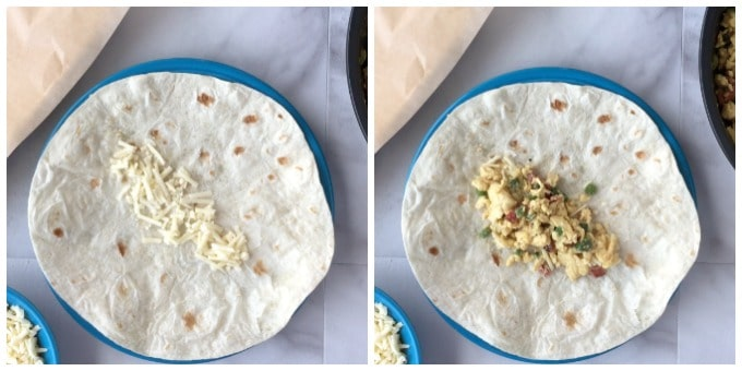 These Healthy Freezer Breakfast Burritos make a tasty and portable breakfast for those busy mornings! Cheese and bacon add a ton of flavor!