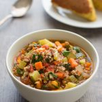 Pair this Italian Sausage Vegetable Soup with some homemade cornbread for one delicious dinner! It's a hearty and healthy soup!