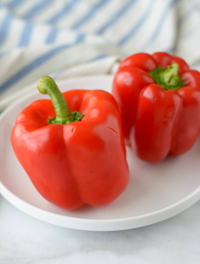 Red Bell Peppers on a plate.