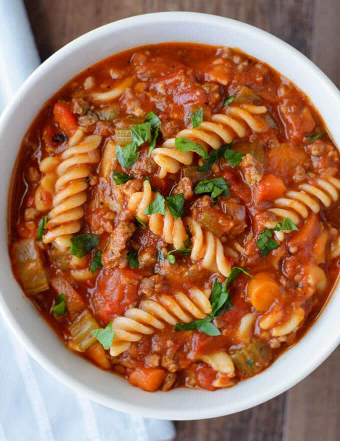 A bowl of Italian Sausage soup with pasta.