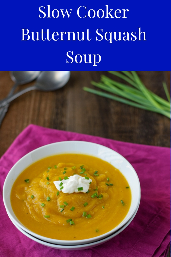 This Slow Cooker Butternut Squash Soup is the perfect Fall comfort food. Super easy to make and delicious! #healthierdishes #butternutsquashrecipes #easysoup #butternutsquashsoup #healthysoup