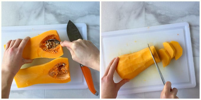 A picture tutorial on how to cut butternut Squash.