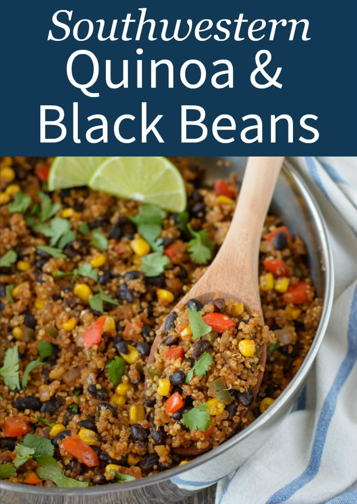 This Southwestern Quinoa and Black Beans recipe comes together in less than thirty minutes and uses mostly pantry staples. It's an easy side dish that can double as a light main course for lunch!
