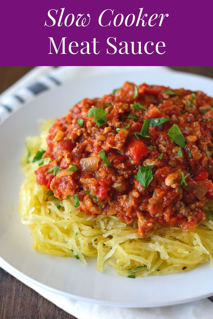 Made with pantry ingredients, this Slow Cooker Meat Sauce is super flavorful and simple to prepare. Serve over your choice of pasta, zoodles or spaghetti squash.