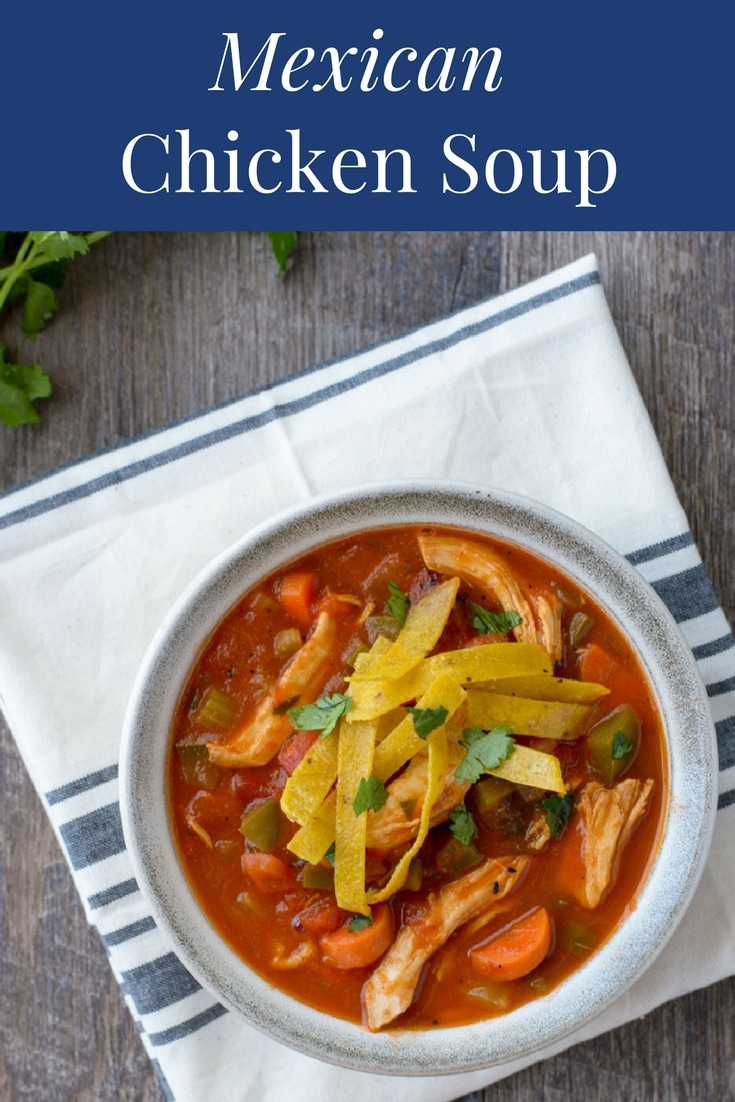 This Mexican Chicken Soup is a hearty soup recipe that is as delicious as it is healthy. It's made with juicy and tender shredded chicken and loaded with veggies. #healthysouprecipes #soup #chickensoup #healthysoup