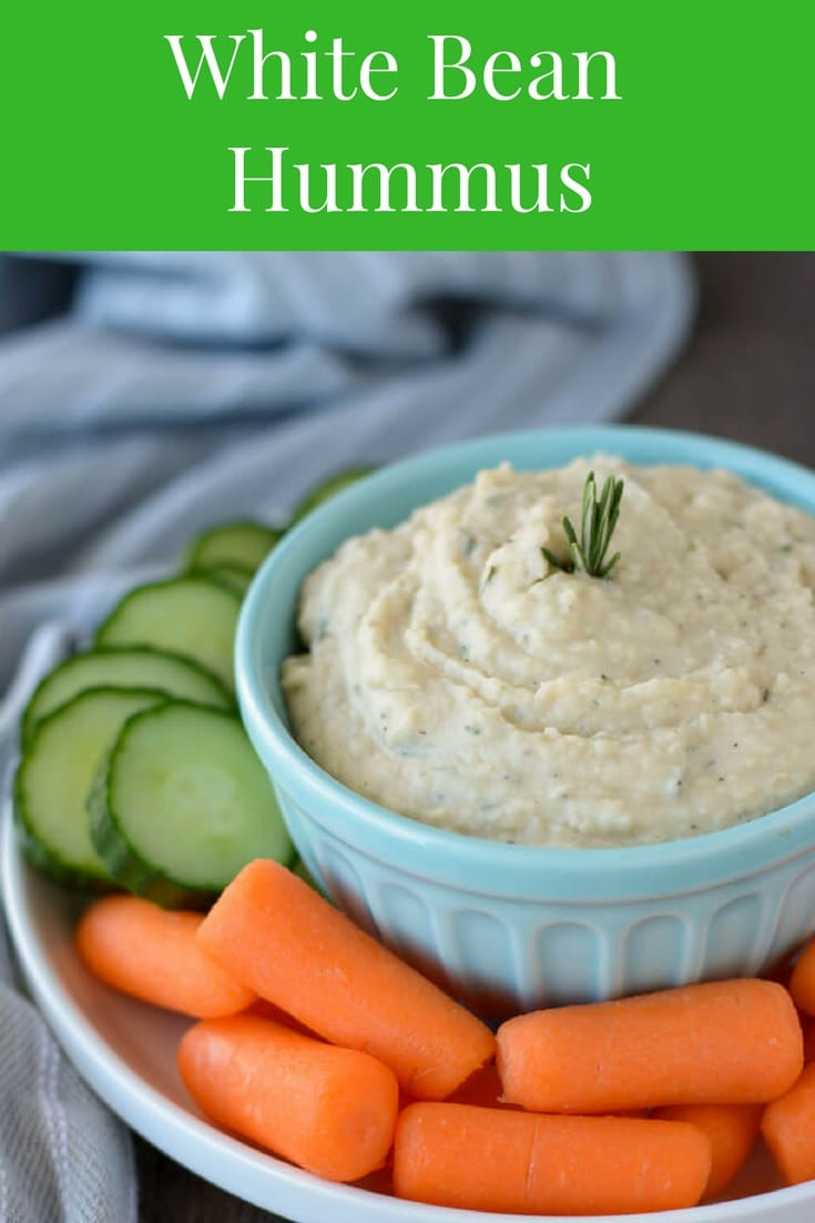 Fresh rosemary and thyme infuse this White Bean Hummus with delicious herby flavor. Serve it with raw veggies or pita chips for an easy and healthy snack!